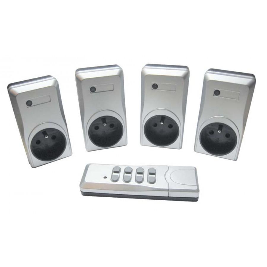 kit prises t l command es silver 1 t l commande 4 prises 1000 watts. Black Bedroom Furniture Sets. Home Design Ideas
