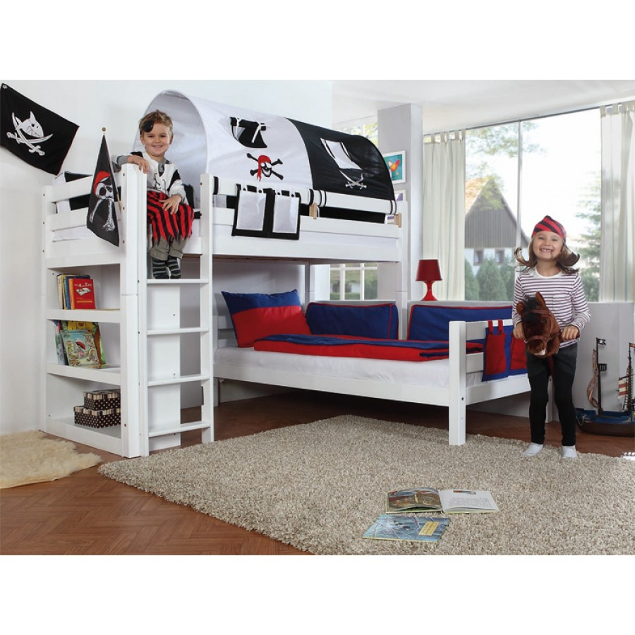 Lit superpos mezzanine transformer finition blanc for Modele chambre garcon 7 ans